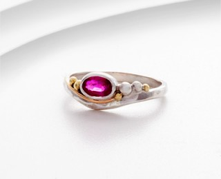 Sterling silver and pink ruby ring