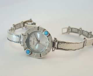 Sterling silver opal watch