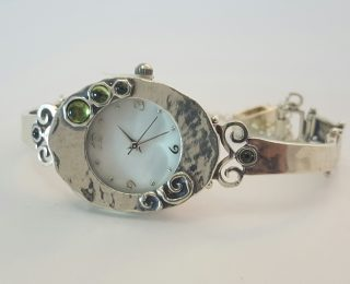 Sterling silver oval face watch