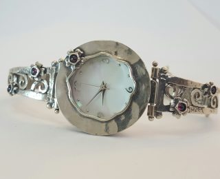 Sterling silver flower watch