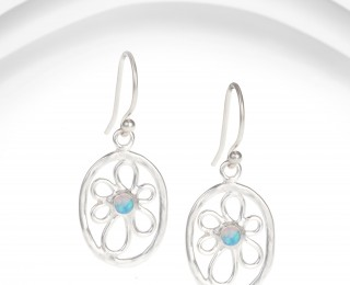 irregular flower earrings with blue opalite