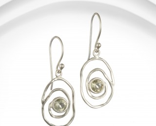 Silver spiral earrings with green amethyst