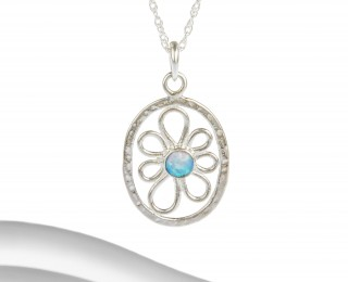 Silver irregular flower pendant with blue opalite