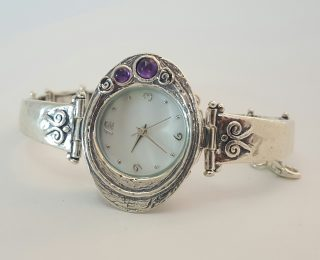 Sterling silver oval amethyst watch