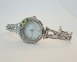 sterling silver peridot watch leaf pattern
