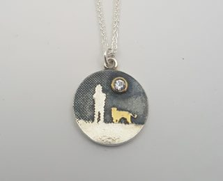 Dog lover white sapphire round pendant by Charlotte Lowe