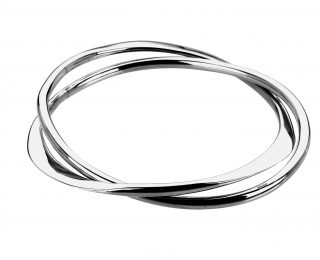 Sterling silver double interlinked bangle